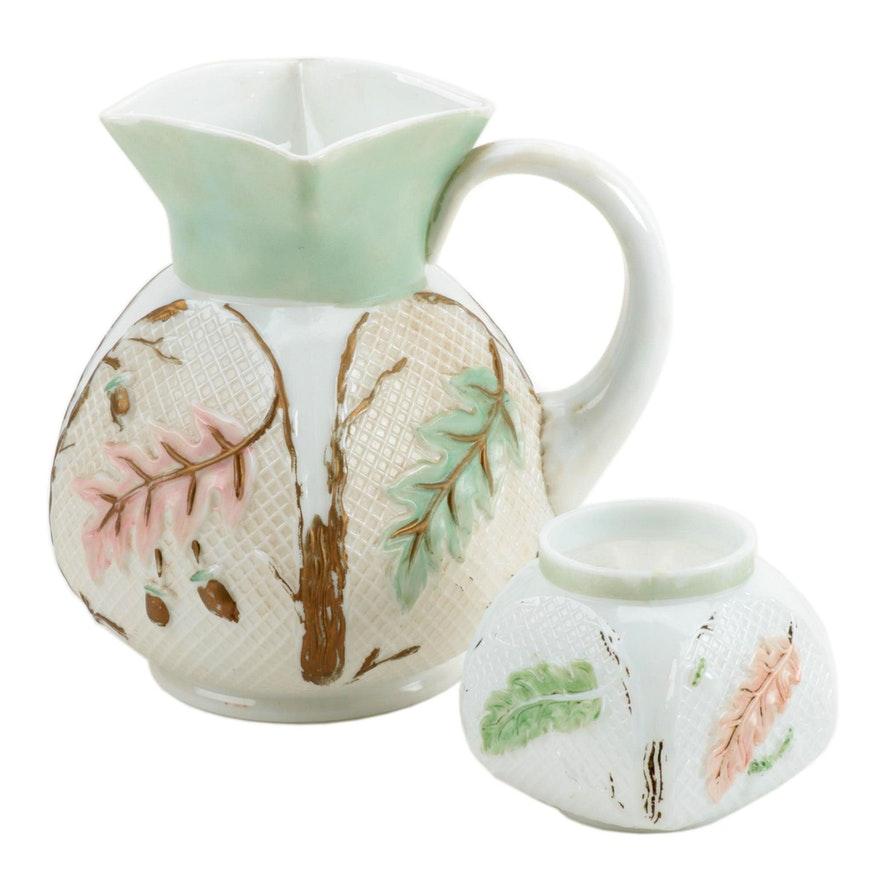 """Northwood """"Netted Oak"""" Milk Glass Pitcher and Spooner"""