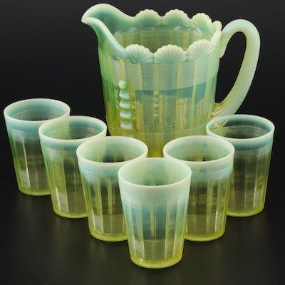 "Northwood ""Klondyke"" Vaseline Glass Pitcher and Tumblers, Early 20th Century"