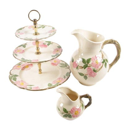 "Franciscan ""Desert Rose"" Ceramic Pitchers and Tiered Server"