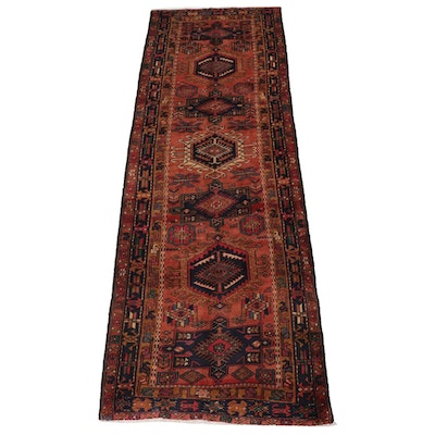 3'7 x 10'10 Hand-Knotted Persian Karaja Wide Runner, 1960s
