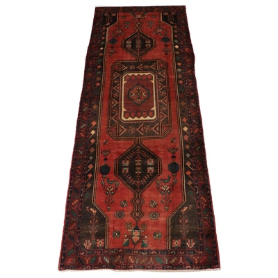 4'6 x 11'9 Hand-Knotted Northwest Persian Pictorial Wide Runner, 1970s