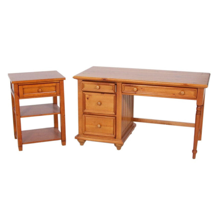 """Stanley Furniture Co. """"Young America"""" Pine Desk and Side Table"""