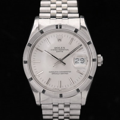 Rolex Date 15010 Stainless Steel Automatic Wristwatch, 1986