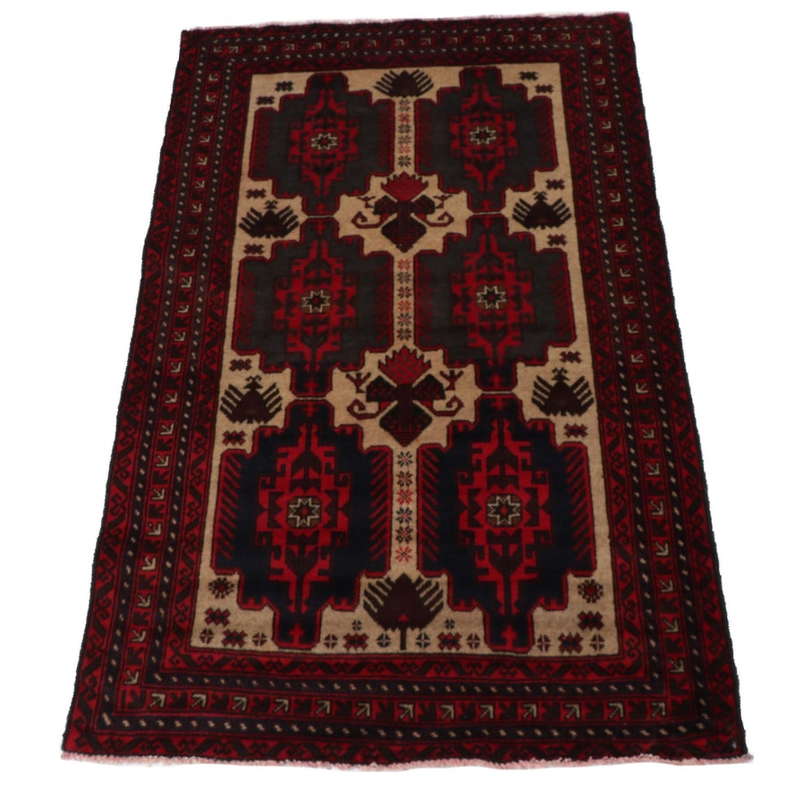 3'1 x 5'1 Hand-Knotted Persian Baluch Rug, Late 20th Century