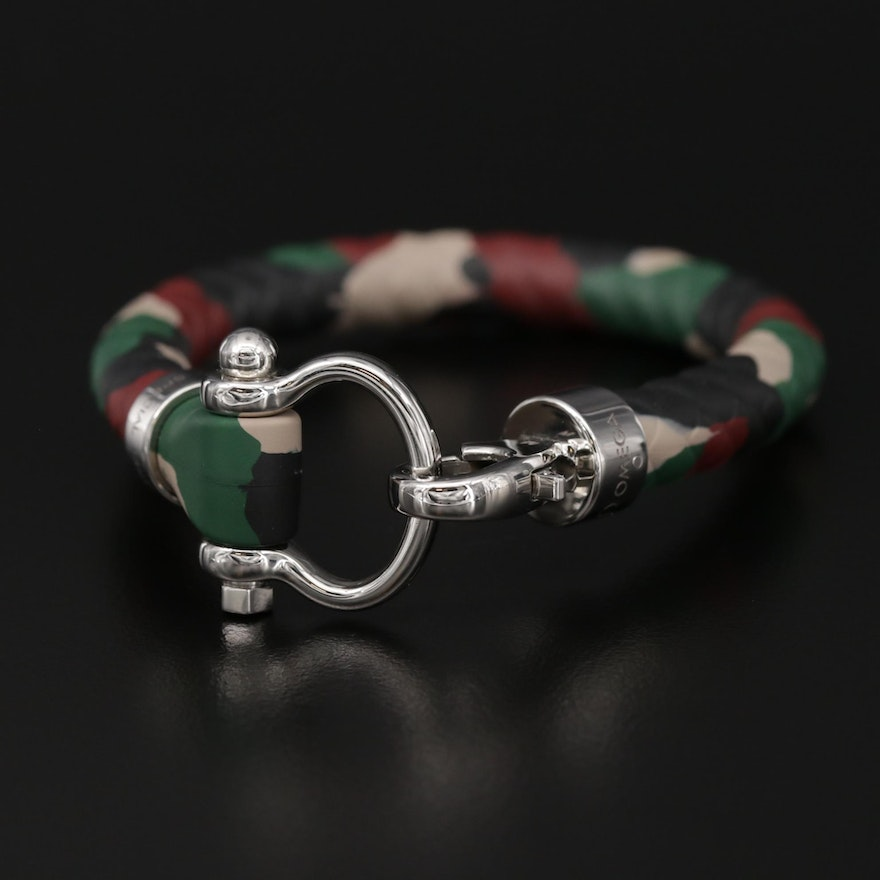 Omega Stainless Steel and Camouflage Rubber Sailing Bracelet