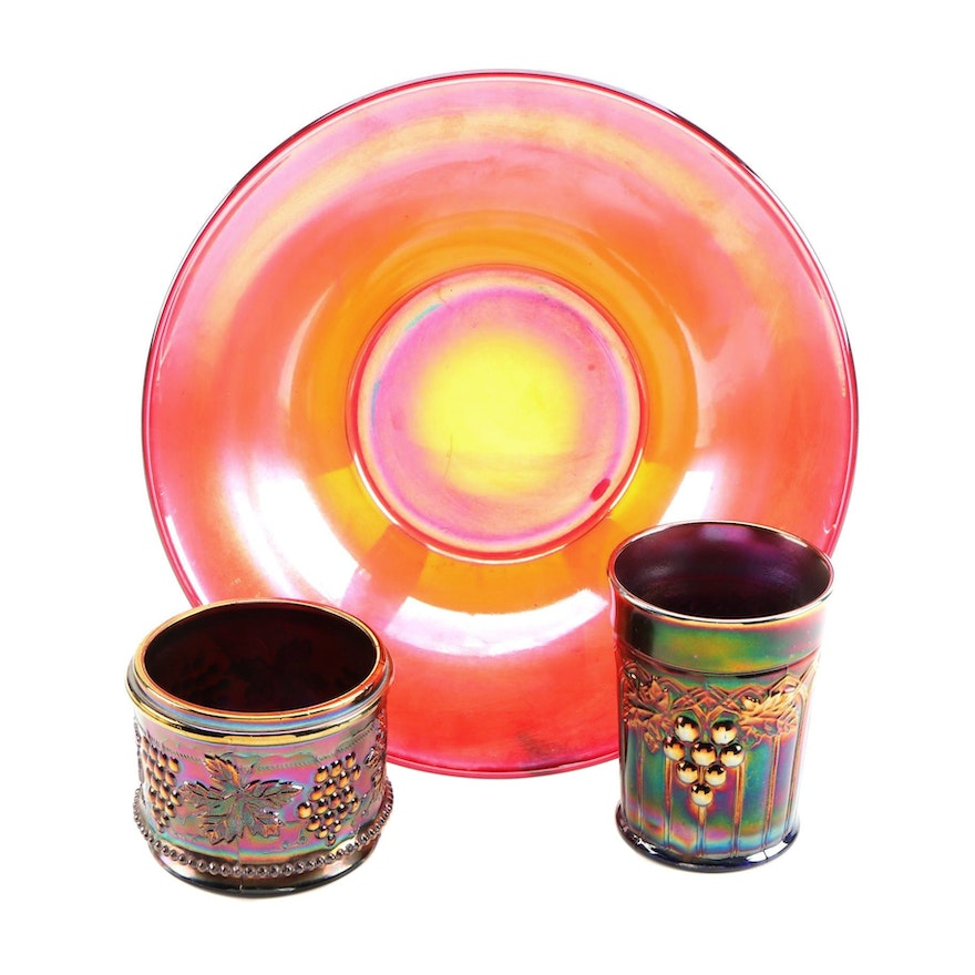 Northwood Carnival Glass Tumbler and Bowl With Red Serving Bowl