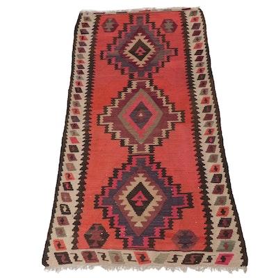 4'1 x 8'3 Handwoven Persian Kurdish Kilim Rug, 1930s