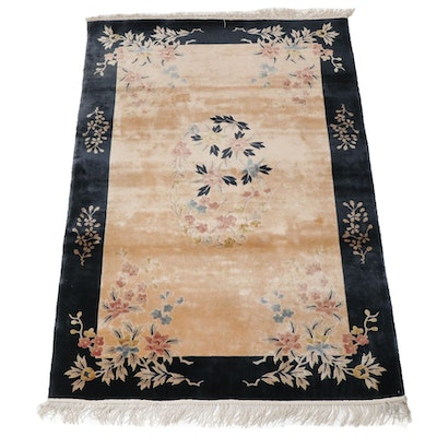 4'0 x 6'8 Hand-Knotted Chinese Art Deco Style Silk Rug