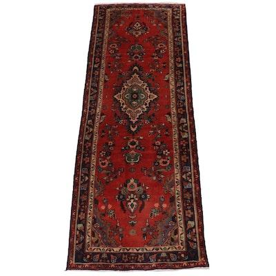3'2 x 10' Hand-Knotted Persian Zanjan Rug Runner, 1970s