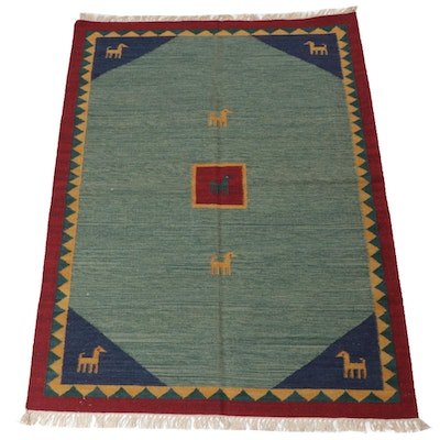 4'7 x 6'10 Handwoven Turkish Persian Gabbeh Kilim Rug