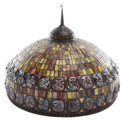 Tiffany Style Stained Glass with Iridized Jewels Lampshade, Late 20th Century