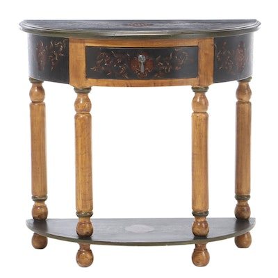 Artisan Decorated Half-Round Side Table, Late 20th Century