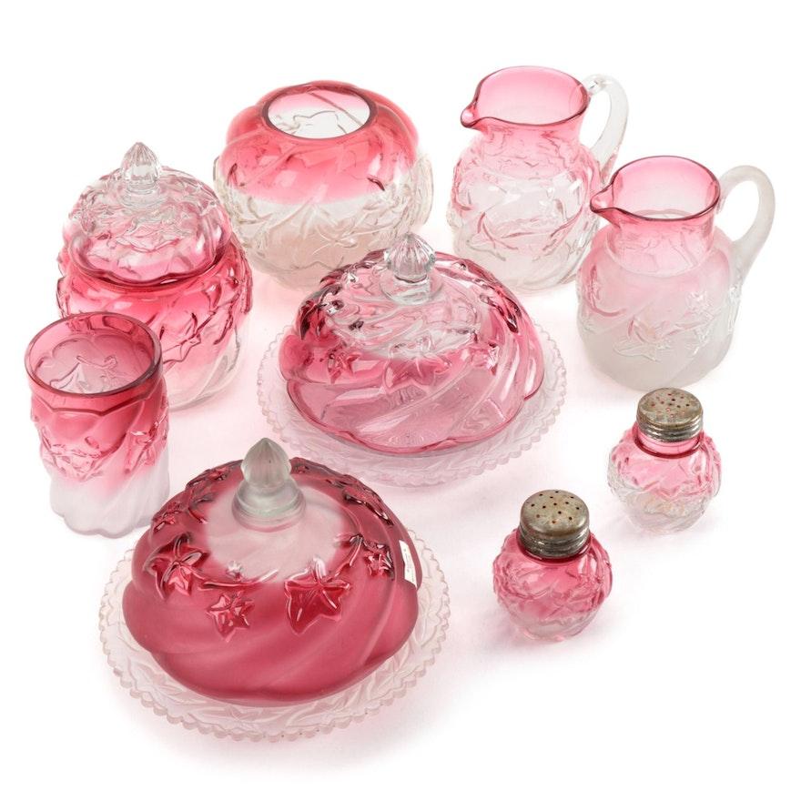 "Northwood ""Royal Ivy"" Glass Tableware in Satin and Clear Rubina"