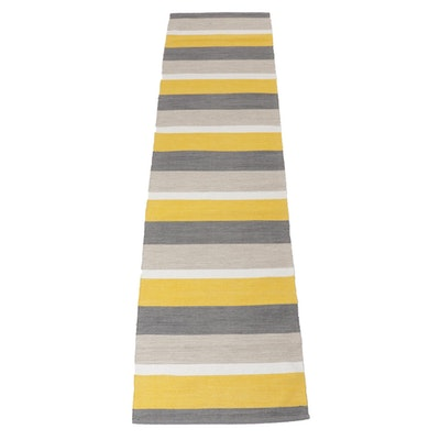 2'7 x 10'3 Handwoven Cotton Runner Rug, 21st Century