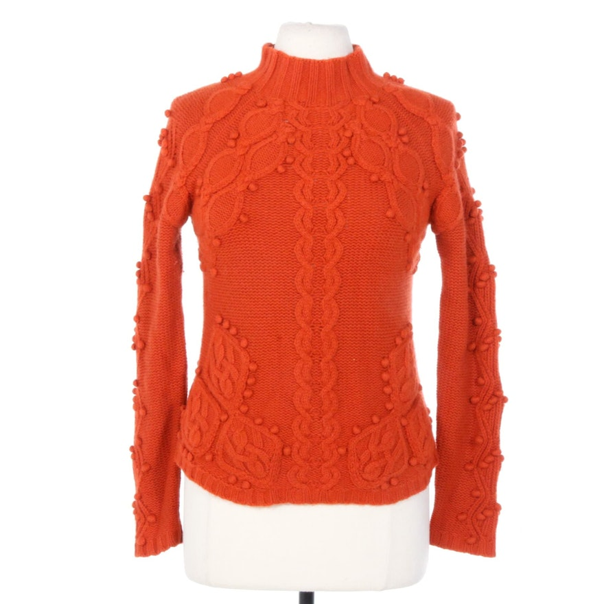 Worth Orange Cashmere Mockneck Pullover Sweater