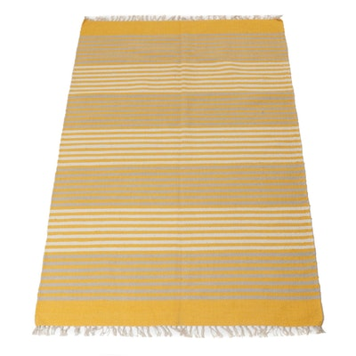 4'7 x 7'1 Handwoven Cotton Area Rug, 21st Century