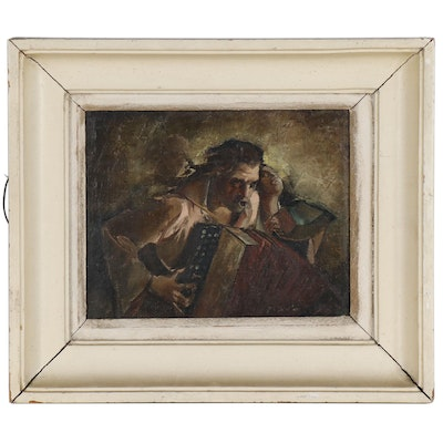 Oil Painting of Accordion Players; Late 19th to Early 20th Century