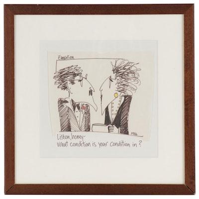 Emerson Quillin Cartoon Marker Drawing, 1986