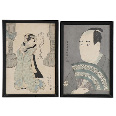 Utagawa Kunisada Ukiyo-e Woodblock and Woodblock after Tōshūsai Sharaku