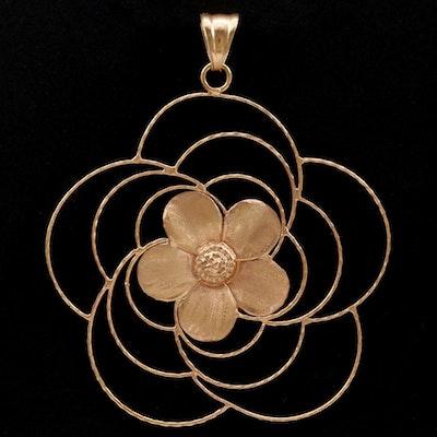 18K Rose Gold Floral Pendant