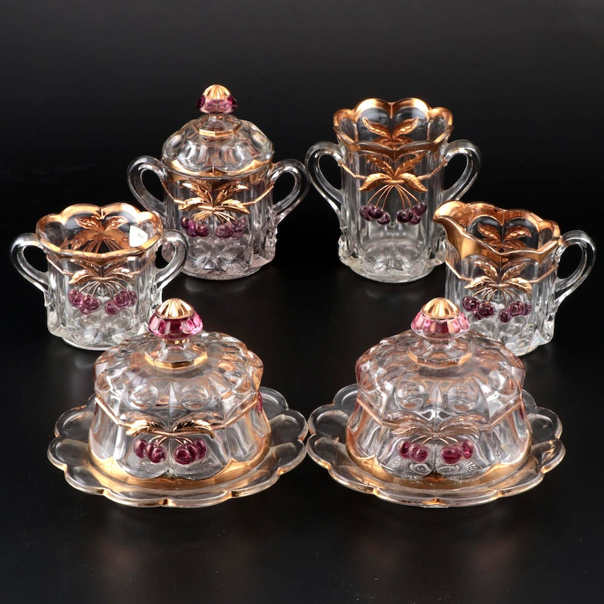 """Northwood """"Cherry and Cable"""" Glass Tableware"""