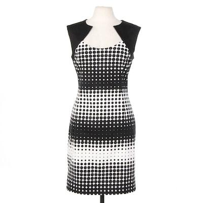 Belle by Badgley Mischka Elasticized Black and White Cotton Sleeveless Dress