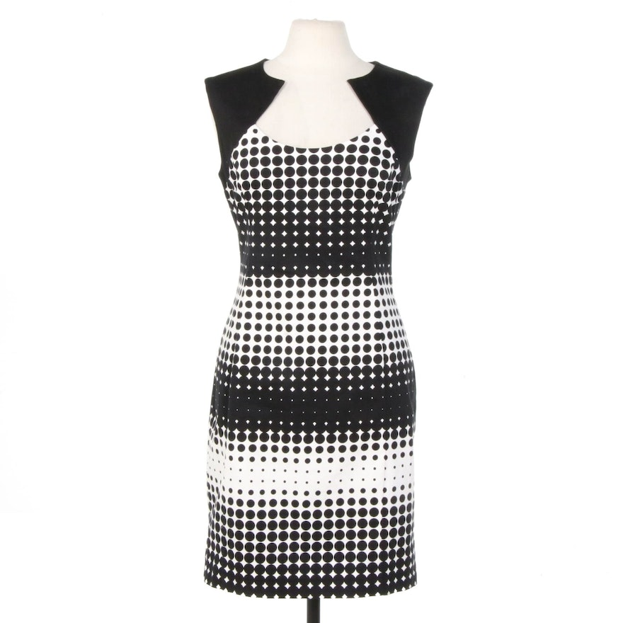 Belle by Badgley Mischka Elasticized Black and White Cotton Sleeveless Dress