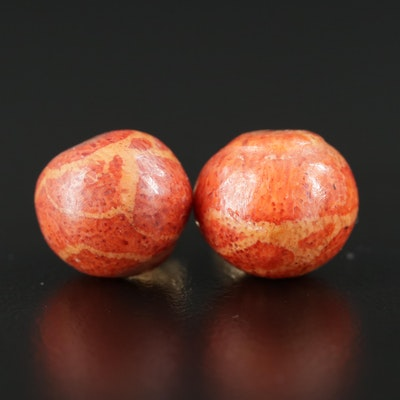 14K Yellow Gold Coral Button Earrings