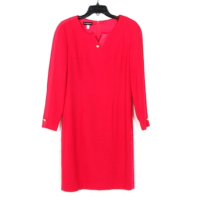 Louis Feraud Red Wool Dress with Button Detail