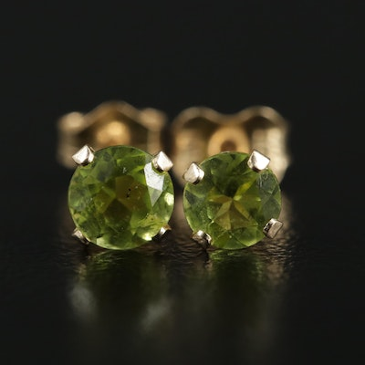 14K Yellow Gold Peridot Stud Earrings