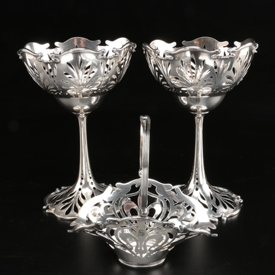 JB & SM Knowles Art Nouveau Sterling Silver Pierced Compote and Basket