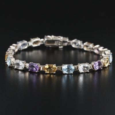 Sterling Silver Amethyst, Citrine and Topaz Line Bracelet