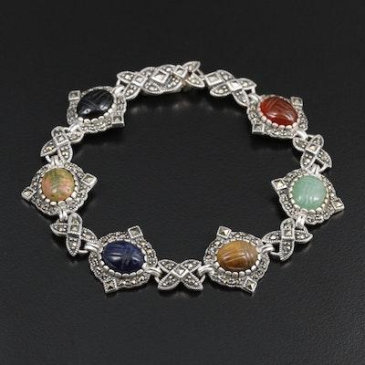 Sterling Silver Unakite, Sodalite and Aventurine Scarab Bracelet