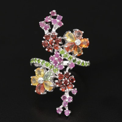 Sterling Silver Flower Motif Ring with Sapphire, Garnet and Chrome Diopside