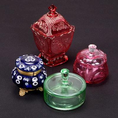 Colored Glass Lidded Vessels, Vintage