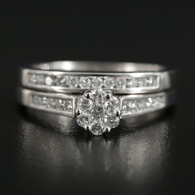 10K White Gold Diamond Ring and Band