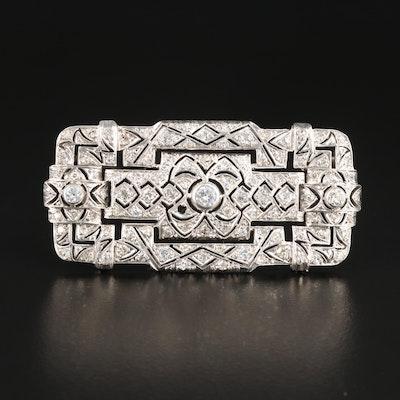 Art Deco 800 Silver 2.74 CTW Diamond Brooch