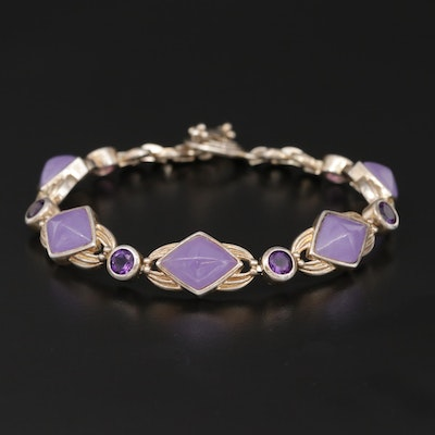 Sterling Silver Jadeite and Amethyst Bracelet