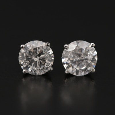 18K White Gold 1.96 CTW Diamond Stud Earrings