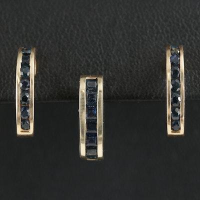 14K Yellow Gold Sapphire J Hoop Earrings and Enhancer Pendant