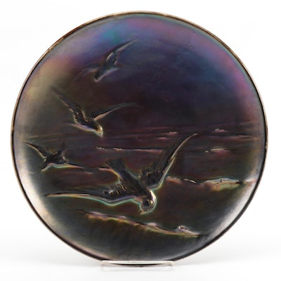 Continental Luster Glaze Ceramic Decorative Charger with Bird Motif