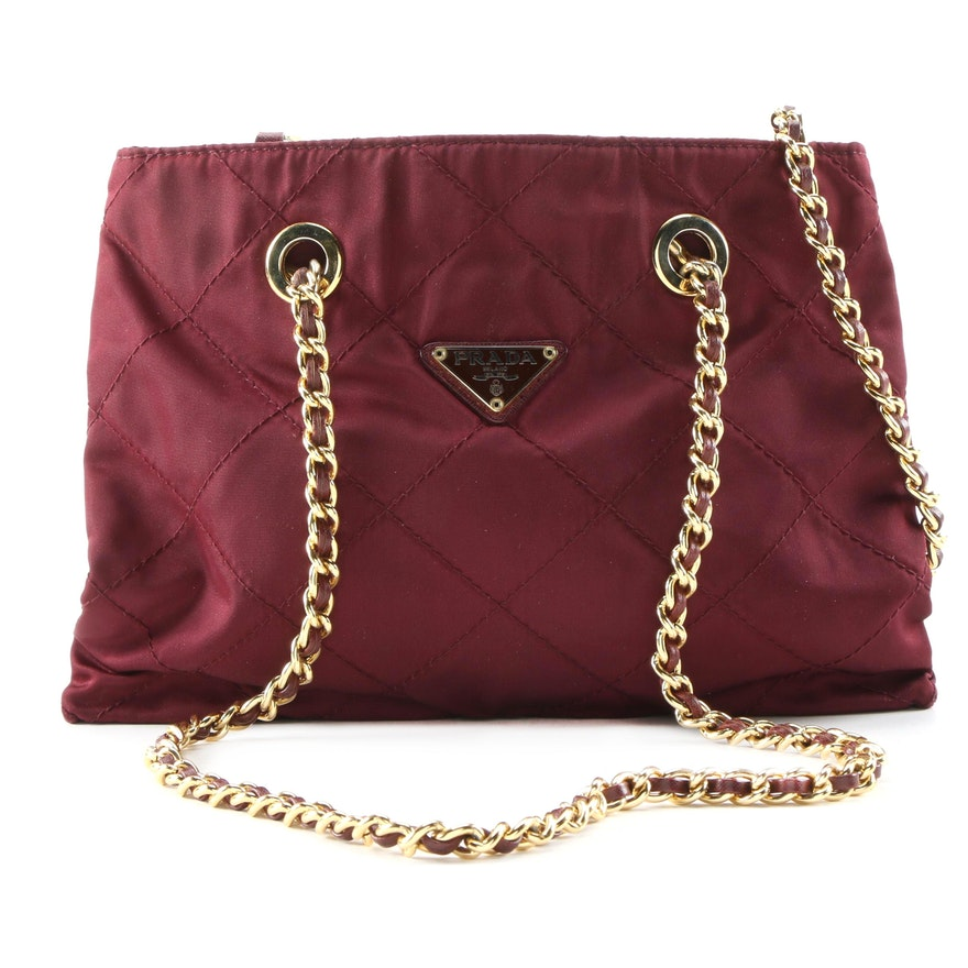 Prada Quilted Tessuto Nylon Shoulder Bag with Leather Chain Link Shoulder Straps