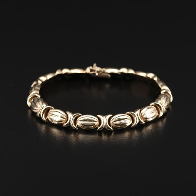 10K Yellow Gold Crossover Link Bracelet