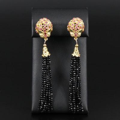 Sterling Emerald and Ruby Cheetah Earrings with Black Onyx Tassels