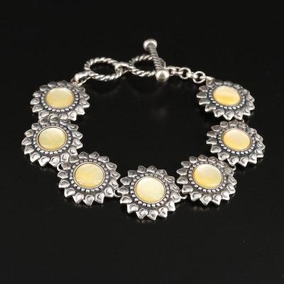 Carolyn Pollack Southwestern Sterling Silver Mother Of Pearl Bracelet