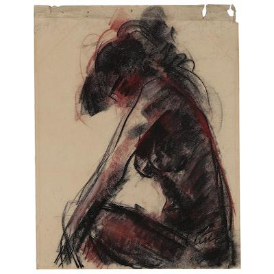 "Charles Cutler Conté Crayon ""Nude Figure"""