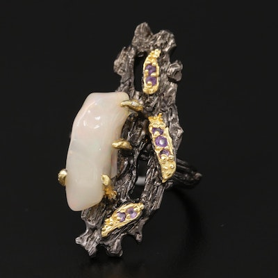 Sterling Silver, Opal and Amethyst Biomorphic Motif Ring