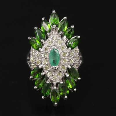 Sterling Silver Emerald Diopside and Topaz Ring