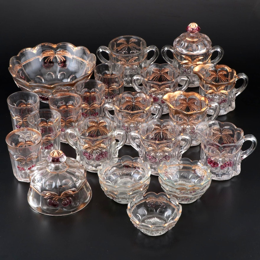 """Northwood """"Cherry and Cable"""" Glass Tableware Assortment"""