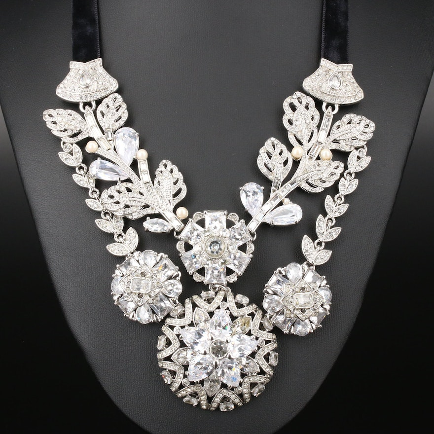 Carolee Lux Floral Themed Necklace Featuring Cubic Zirconia Accents